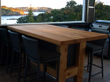 Macrocarpa Bar Leaner Laminated Table